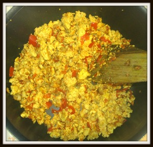 tofu brouillé champignons tomate